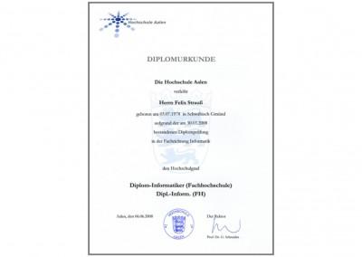 Diplomurkunde Dipl.Inform. (FH) Felix Strauß