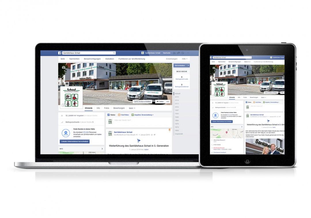 Facebook-Auftritt: Erstellung & Pflege für das Sanitätshaus Schad